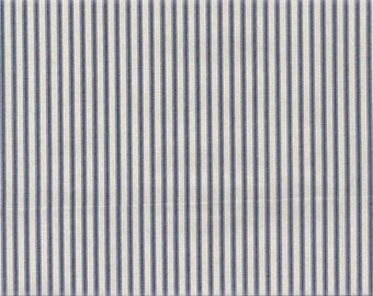 Fabric Sample, Ticking Stripe Fabric, Upholstery Fabric, Drapery Fabric, Blue French Stripe Fabric, French Country Home