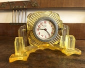 Vintage Soviet Clock Mechanical Clock USSR 1960s Yellow Orange Plexiglass Desk clock Mantel clock