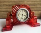 Vintage Soviet Mechanical Tank Clock USSR 1960s Red Plexiglass Clock Desk Mantel clock