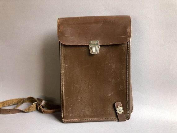 Brown Retro Leather Handbag Made in USSR Shoulder Bag 80/'s Embossed Genuine Leather Shoulder Bag Vintage Leather Woman Bag