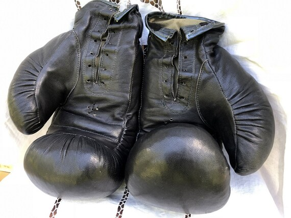 Vintage Soviet Boxing Gloves, Black Leather Boxing