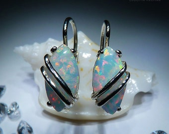 Marabelle. Fascinating Handmade Silver or 14K Gold Opal Earrings. White Opal Jewelery. Available in different colors. Czech jewelry.