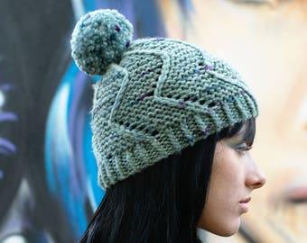 Cirro Beanie Bobble Hat PDF knitting pattern (instructions)