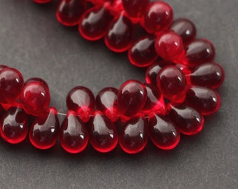Red and Black Glass Teardrop Beads 14x10mm 4 Beads