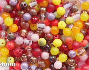 Feu polie rodé Perles COPPER Smoky Topaz 4 mm perles de verre à facettes