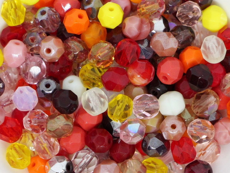 60pcs Czech Fire Polished Beads 6mm Mixed color Round Facet Beads red garnet ruby pink rose yellow orange bead soup