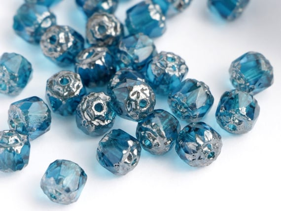 20pcs 6mm Aqua Blue Silver Cathedral Czech Glass Beads with silver ends glass facet Cathedral beads brilliant blue silver fire polished