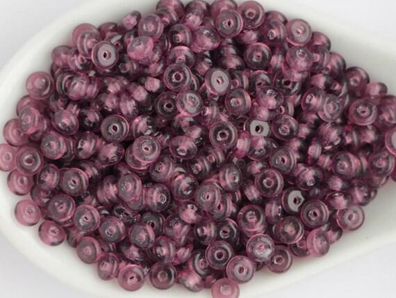 perles de 4mm améthyste Violet Violet Rondell tranche (100 pièces) petites entretoises disque tchèque de verre perles Donut perles lavande Rondelles disques rouge