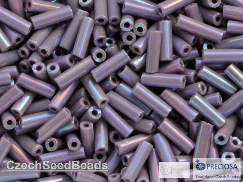 7mm Czech Bugle Seed Beads 20g Purple Rainbow Preciosa Bugle Rocaille size 3