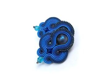 Blue Clip On Earrings, Handmade Soutache Earrings, Navy Blue Earrings, Clip-On Earrings, Clip Earrings, Navy Earrings