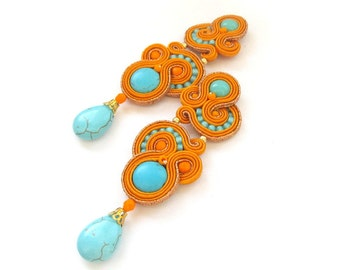 Long Clip - On Earrings - Unique  Handmade Soutache Earrings - Hand Embroidered Soutache Earrings
