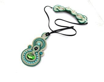 Boho Soutache Pendant - Handmade Jewelry , Boho Style Pendant , Soutache Necklace Pendant , Turquoise Gold Green , Hand Embroidered