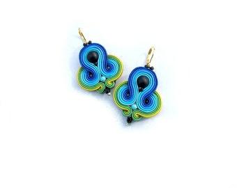 Ethnic Dangle Soutache Earrings - Colorful Dangle Earrings - Hand Embroidered Soutache Earrings in Boho Style - Bohemian Boho Jewelry