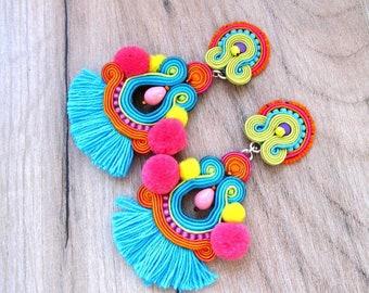 Long tassel earrings, colorful soutache Earrings, tribal jewelry, statement earrings with pompoms