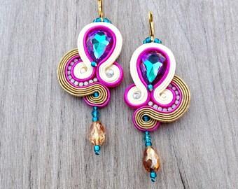 Gold Dangle earrings, Long Drop Earrings, Soutache Earrings with Vitrail Crystals, Glamour Dangle Drop Earrings