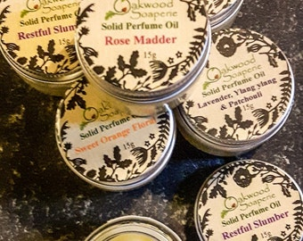 Solid Perfume Oil, Natural Perfume balms, Natural solid perfume with pure essential oils. Wedding favours, gifts for her.