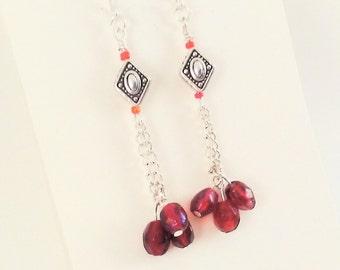 Long red beaded earrings, long chain earrings, red beaded boho earrings, long dangle earrings, long boho earrings