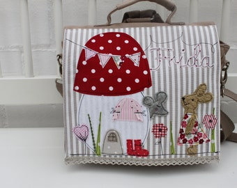 c9e03d7d03 Kindergarten Backpack Nursery Bag with name backpack Kindergarten child  Kids backpack Kita bag Canvas bunny mouse mushroom Milla Louise