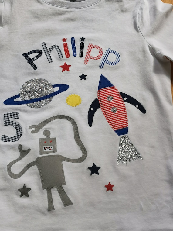 Birthday Shirt Kids,Birthday Shirt,Shirt for Boys,Shirt with Name,Shirt with Number,Rocket,Space,Robot,Milla Louise