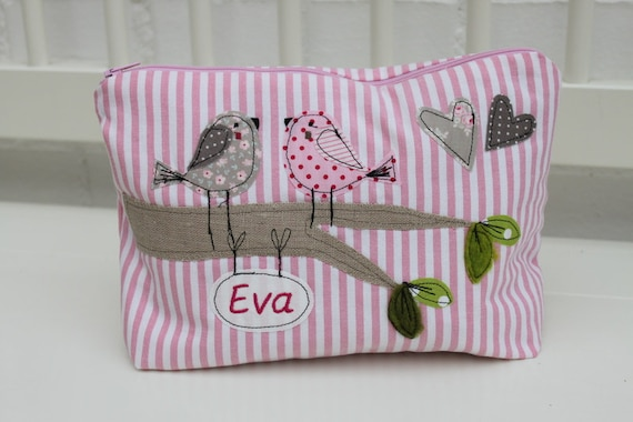 Wrap bag cosmetic bag toiletry bag birds sparrows wrap bag with name baby gift baptism birth