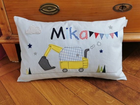 Pillow with name pillow cover pillow birth baby pillow pillow personalized excavator pennant chain cuddly pillow child pillow baby pillow