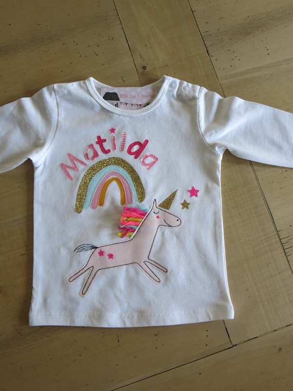 Birthday Shirt Unicorn, Girl, Kids, T-Shirt, Unicorn Shirt, Birthday, Number, Name, Rainbow, Gift, by MillaLouise