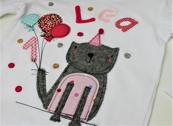 Birthday shirt kids,birthday shirt,shirt for girls,shirt with name,shirt with number,cat,gift,cat shirt,t-shirt,milla Louise