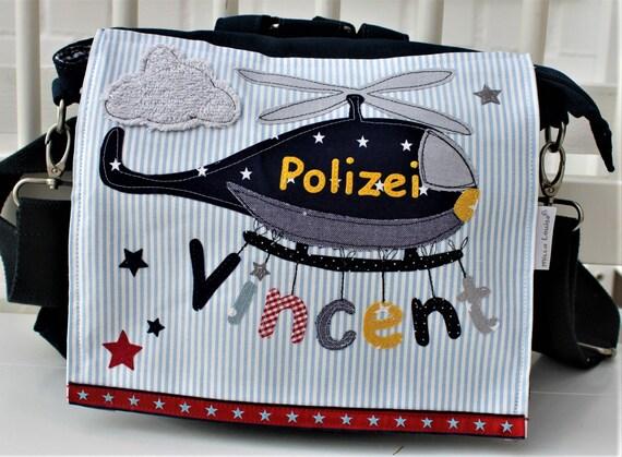 Nursery backpack nursery bag with name backpack kindergarten child child backpack kita bag canvas helicopter police helicopter