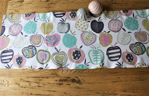 Table runner spring, tablecloth coffee and cake decoration muffin cupcake tarts guests decorative fabric, table runner apple, apple fabric