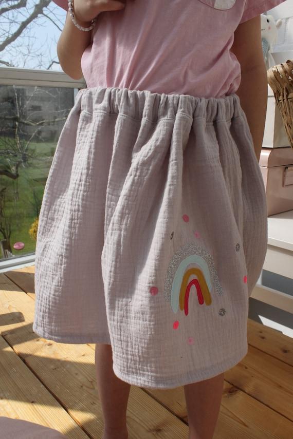 Musselin skirt grey, rainbow skirt, muslin fabric, summer skirt, rock muslin, rock summer, girls rock muslin, muslin skirt