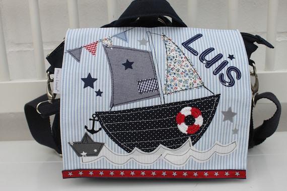 Kindergarten Backpack Nursery Bag with name backpack Kindergarten child Children Backpack Kita bag canvas sailboat Milla Louise