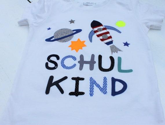 School child shirt, birthday shirt,shirt for boys,shirt with name,shirt start of school,rocket,space,shirt enrollment, 1st school day,school