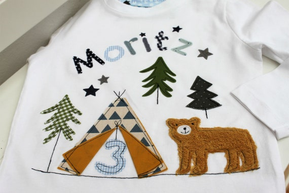 Birthday Shirt Kids,Birthday Shirt,Shirt for Boys,Shirt with Name,Shirt with Number,Tipi,Gift,Grizzly, Bear,T-Shirt,Milla Louise