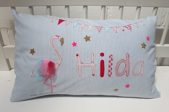 Pillow with name pillow cover pillow birth baby pillow cover pillow personalized flamingo cushion child pillow baby pillow
