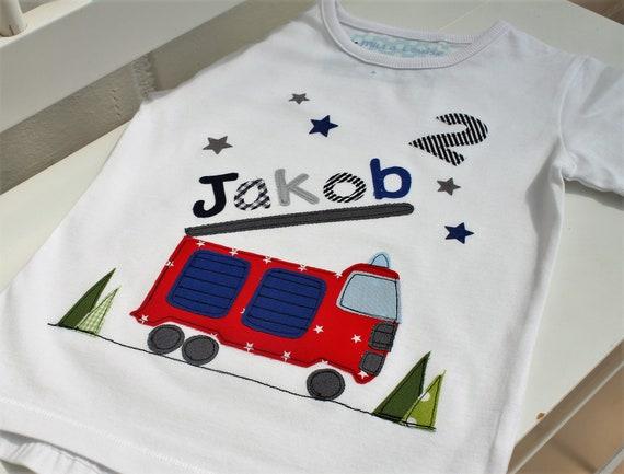 Birthday shirt kids,birthday shirt,shirt for boys,shirt with name,shirt with number,firebrigade,fire truck,gift,shirt,Milla Louise