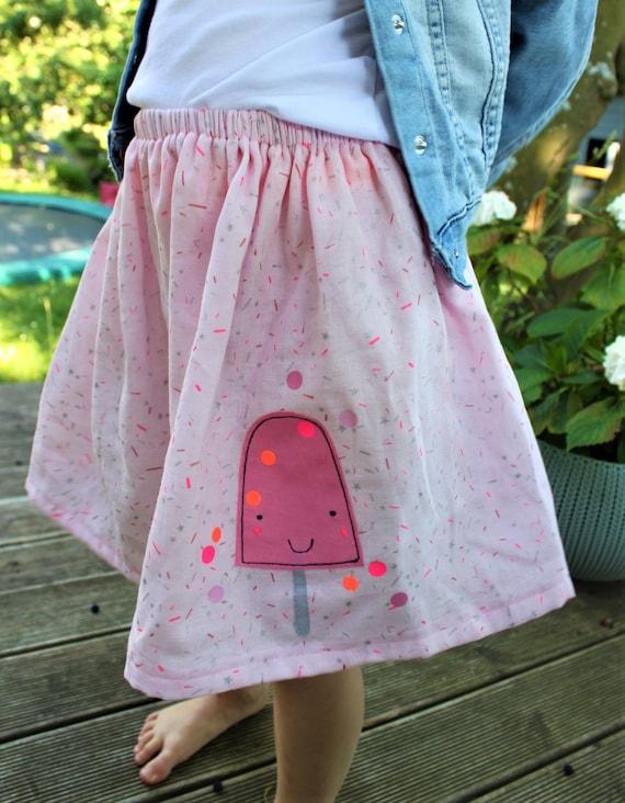 Skirt, rock muslin, muslin skirt, muslin, rock ice cream, ice applique, confetti, glitter skirt, muslin pink, altrosé, star silver