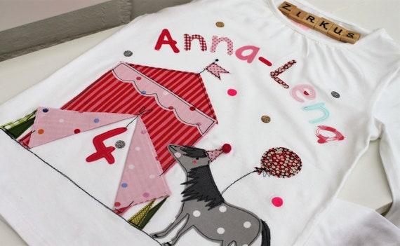 Birthday shirt children, birthday shirt, shirt for girls, shirt with name, shirt with number, circus, gift, pony shirt, horse, horse shepherd