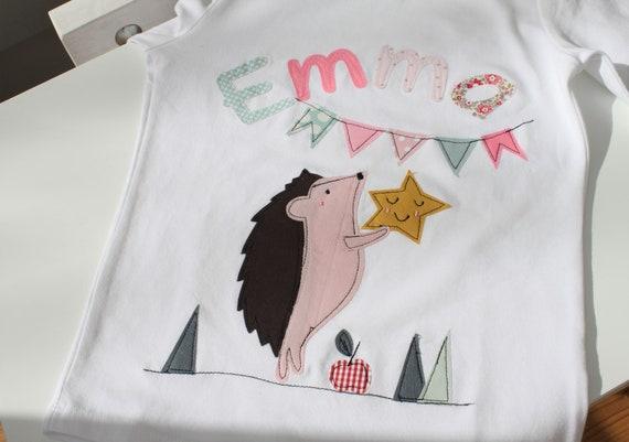 Birthday shirt kids,birthday shirt,shirt for girls,shirt with name,shirt with number, shirt hedgehog, shirt birthday, hedgehog shirt