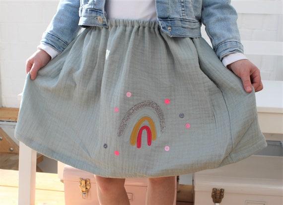 Skirt, rock muslin, muslin skirt, muslin, rock rainbow, rainbow skirt, confetti, glitter skirt, muslin mint, green, rainbow skirt