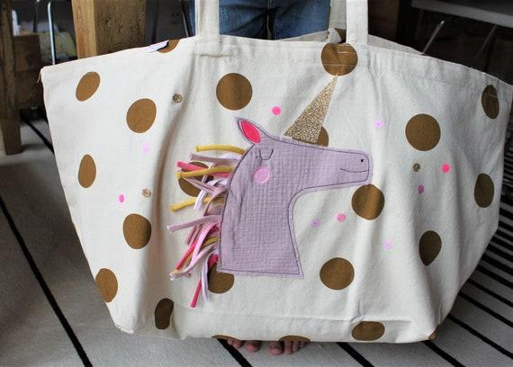 Bag Cloth Bag Beach Bag Shopping Bag Large Bag Bathing Bag Unicorn Large Shoulder Bag Canvas Bag Gift Christmas