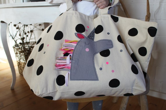 Bag fabric bag beach bag tote bag large bag bath bag unicorn large shoulder bag canvas bag