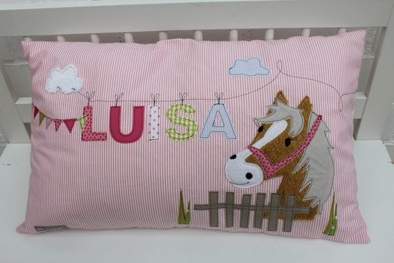 Pillow with name pillowcase pillow birth baby pillow case pillow personalized horse pony cuddle pillow children's pillow baby pillow