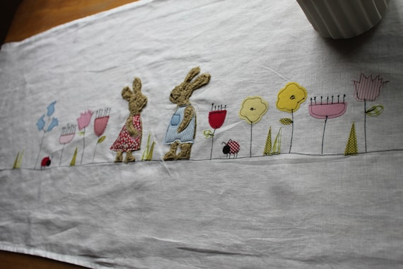 Only 1x ready to ship! Table runner Easter, tablecloth Easter, Easter decoration, table runner, Easter, Easter bunny