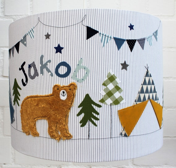 Lamp Kids,Lampshade Nursery, Hanging Lamp, Ceiling Lamp, Floor Lamp, Lamp,Light,Light, Lamp with Name, Boys,Tipi,Bear,Lamp Tipi