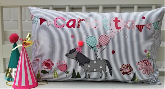 Pillow with Name Pillow Cover Pillow Pony Pillow Pillow Pillow Personalized Cuddly Pillow Children's Pillow Balloons Party Hat