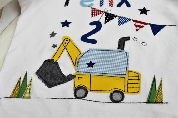 Birthday shirt kids,birthday shirt,shirt for boys,shirt with name,shirt with number,excavator,construction site,gift,shirt,Milla Louise