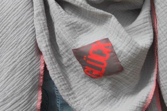 XXL Neck scarf muslin, muslin scarf, muslin scarf, rainbow cloth, rainbow scarf, grey, glitter, muslin, happiness, patch