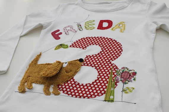 Birthday shirt, dog, girls, boys, kids, T-shirt, shirt, birthday, with number, by name, as a gift, by MillaLouise