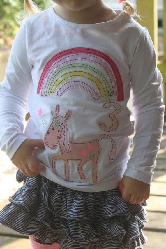 Birthday shirt, birthday shirt kids, kids shirt girl, unicorn, rainbow, shirt, with name, with number, birthday, by MillaLouise