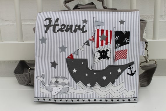 Kindergarten Backpack Nursery Bag with name backpack Kindergarten child Children Backpack Kita bag canvas Pirate boat Milla Louise